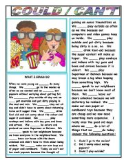 English Worksheet: COULD/CAN�T