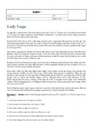English Worksheets: Lady Gaga