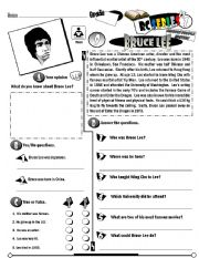 English Worksheet: RC Series Famous People Edition_09 Bruce Lee (Fully Editable)