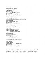 English Worksheets: No Doubt/Don´t Speak Song Worksheet