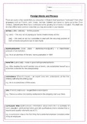 English Worksheets: Foreign words in English