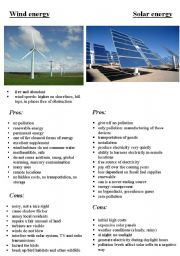 English Worksheet: solar energy and wind energy
