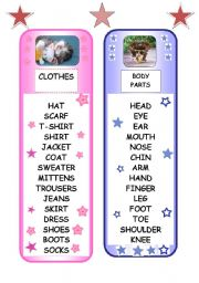English Worksheets: BOOKMARKS - CLOTHES AND BODY PARTS
