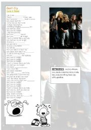 English Worksheet: Song: Don´t cry - Guns N´ Roses