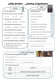English Worksheets: Daily Routines - Listening Comprehension - Training