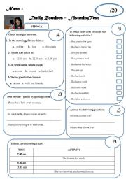 English Worksheet: Daily Routines - Listening Comprehension - Test