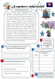 English Worksheet: A superhero�s daily routines - reading/writing/speaking