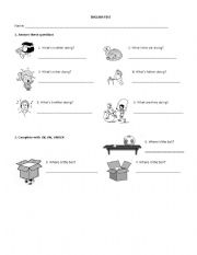 English Worksheets: Actions and Prepositions Test
