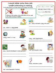 English Worksheet: Would Rather,Prefer