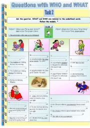English Worksheets: Questions with WHO-WHAT