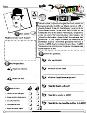 English Worksheet: RC Series Famous People Edition_12 Charlie Chaplin  (Fully Editable)