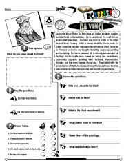 English Worksheet: RC Series Famous People Edition_11 Leonardo Da Vinci (Fully Editable)