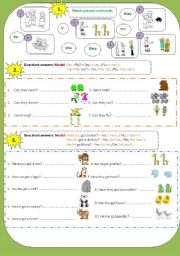 English Worksheets: Short answers(can_have got)+Personal pronouns