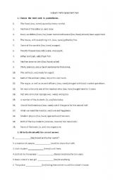 English Worksheet: Subject-Verb Agreement Test