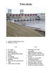 English Worksheet: water energy