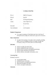 English Worksheets: learning action plan