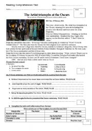 English Worksheets: Reading Comprehension: The Artist