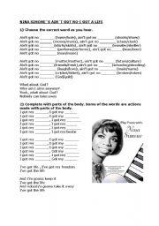 English Worksheets: Nina Simone - Ain�t Got No Life