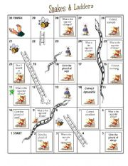 English Worksheets: snake and ladder