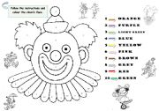 English Worksheets: The clown�s face. Vocabulary: Colours.