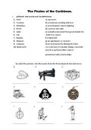 English Worksheet: The pirates of the Caribbean
