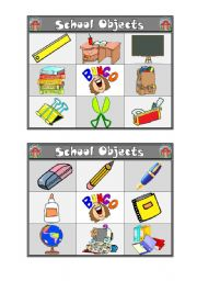 English Worksheets: School Bingo (1/2)