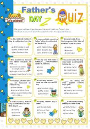 English Worksheets: Father´s Day  Quiz