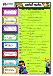 English Worksheets: MODAL VERBS - 4 (B&W+KEY included)