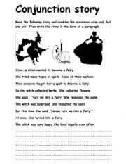 English Worksheets: conjunction story