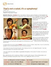 English worksheet: Salad Symphony
