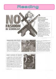 English worksheet: No fashion in schools-reading comprehension