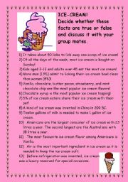 English Worksheet: interesting facts about ice-cream