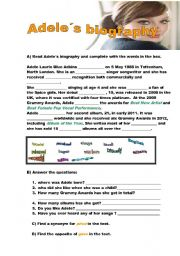 English Worksheets: Adele�s biography