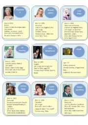 English Worksheet: Guess who cards 2