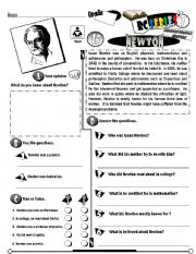 English Worksheet: RC Series Famous People Edition_15 Isaac Newton (Fully Editable)