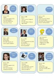 English Worksheet: Guess who cards 3