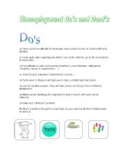 English worksheet: Unemployment_dos-and_donts