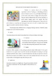 English Worksheets: teachers� roles