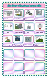 English Worksheet: picture dictionary for environment and energy