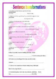 English Worksheets: Sentence transformations