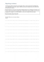 English Worksheets: Packing and unpacking a sentence