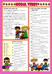 English Worksheets: MODAL VERBS - 5 (B&W included)