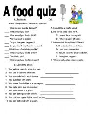 English Worksheet: a food quiz