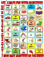 English Worksheets: Adjective Board Game