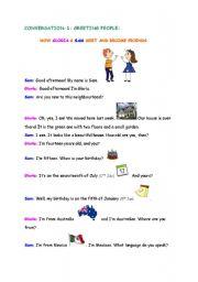 English Worksheets: Conversation 1: Greeting People - page 1
