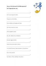 English Worksheets: Build questions