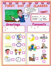 English Worksheets: FIRST DAY OF CLASSES!