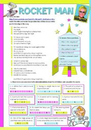 English Worksheets: ROCKET MAN by Elton John