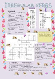 irregular verbs crossword and sentences