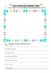 English worksheet: Your Favourite Holiday´s Time